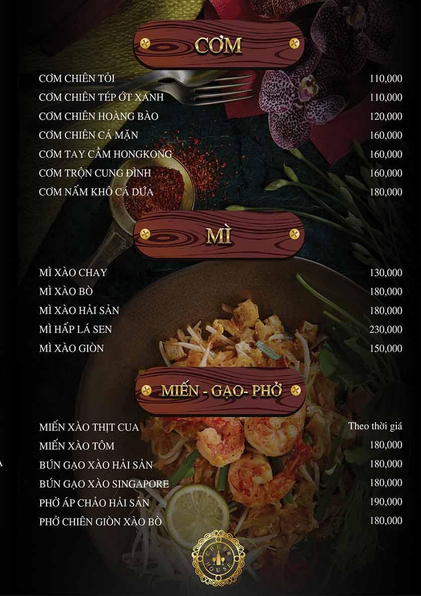 Menu Cheer House Restaurant 24