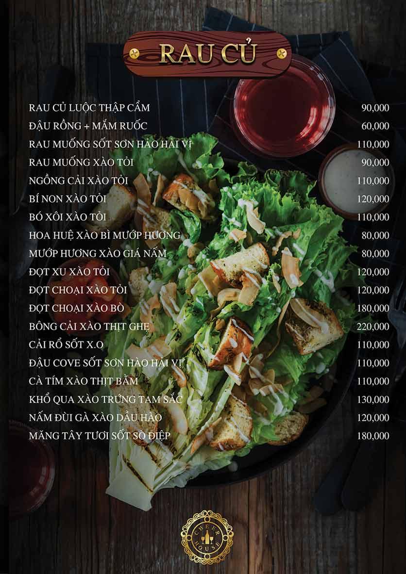 Menu Cheer House Restaurant 6