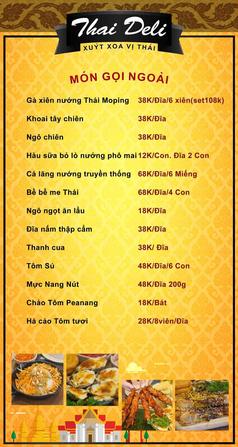 Menu Thai Deli - Buffet Lẩu Thái Hải Sản - Vũ Ngọc Phan 3
