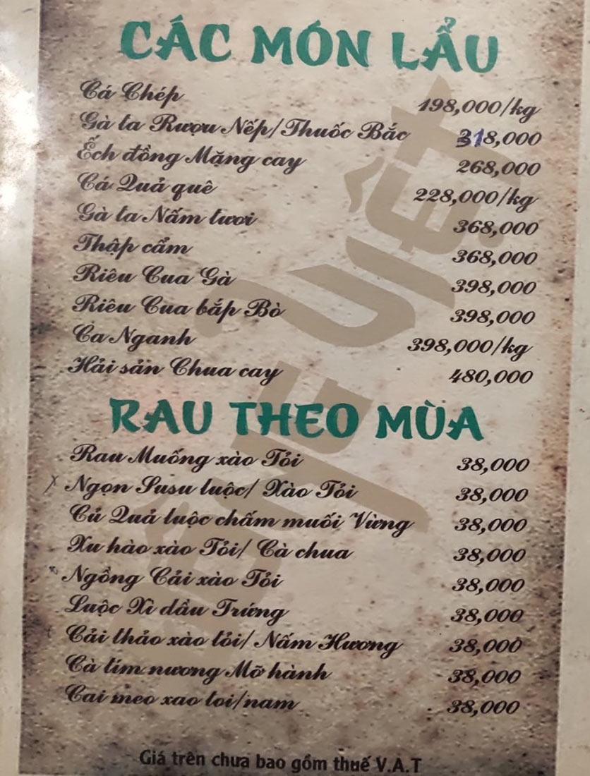 Menu Đồng Việt - Lâm Du 11