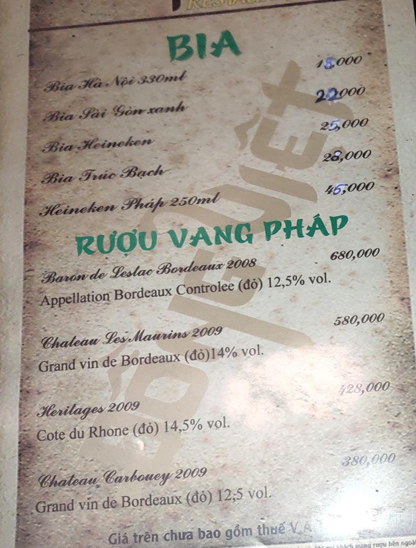 Menu Đồng Việt - Lâm Du 15