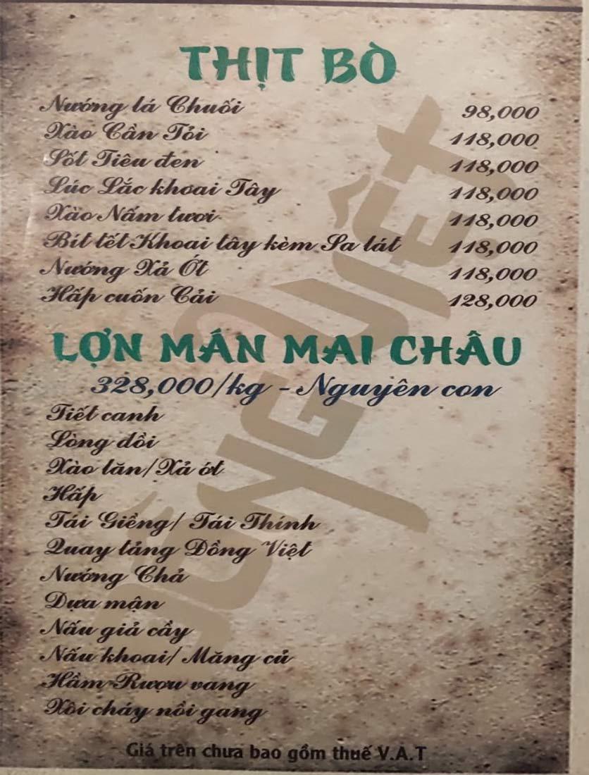 Menu Đồng Việt - Lâm Du 7