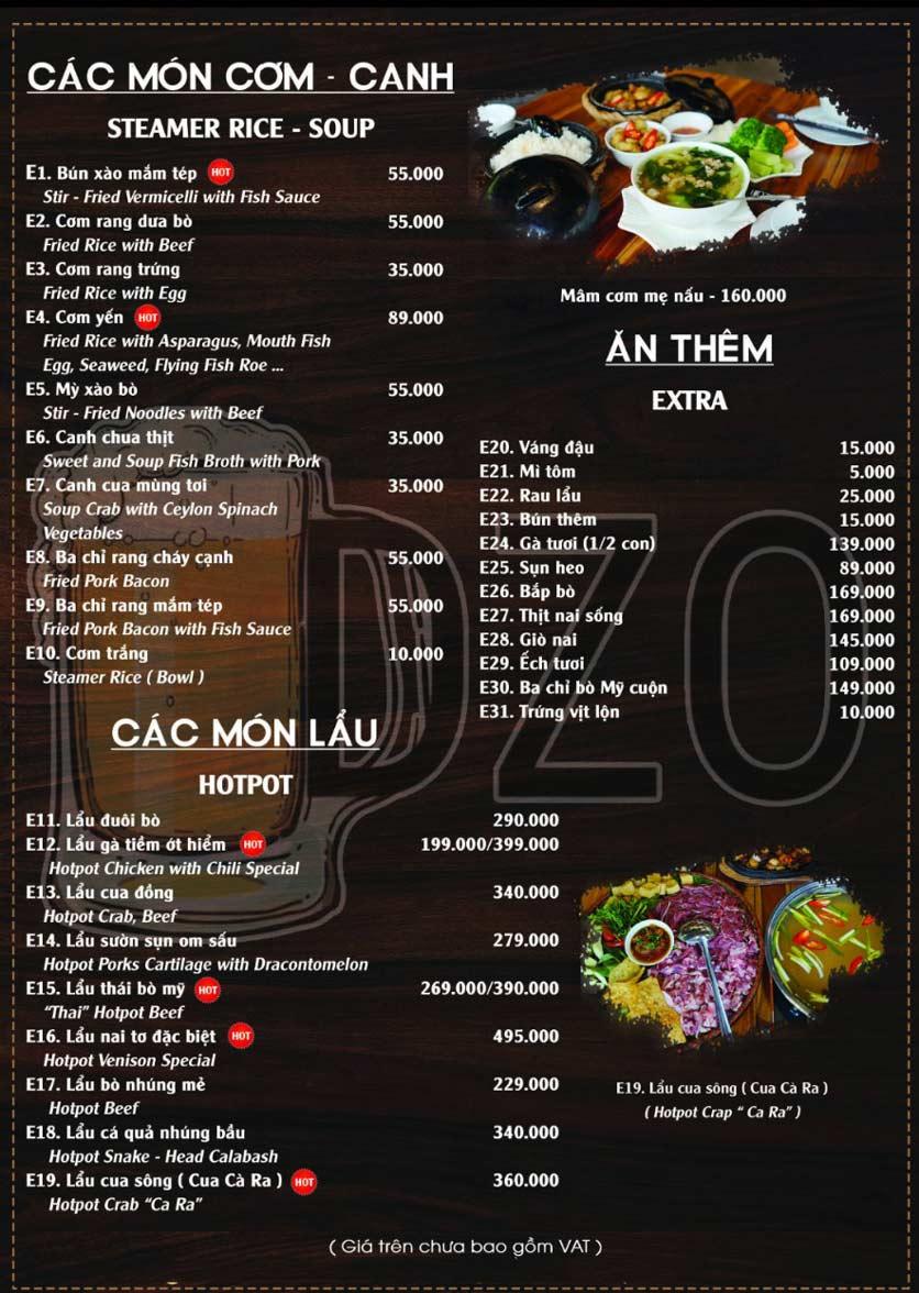 Menu DZO Quán -  1/84 Trần Thái Tông 5