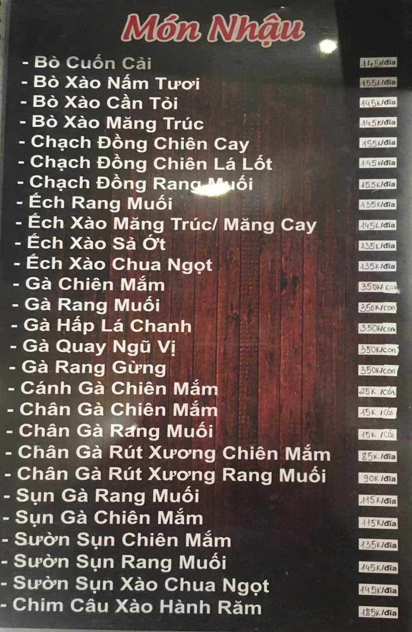 Menu Gà Đồi Dê Núi -  Nguyễn Hoàng 8