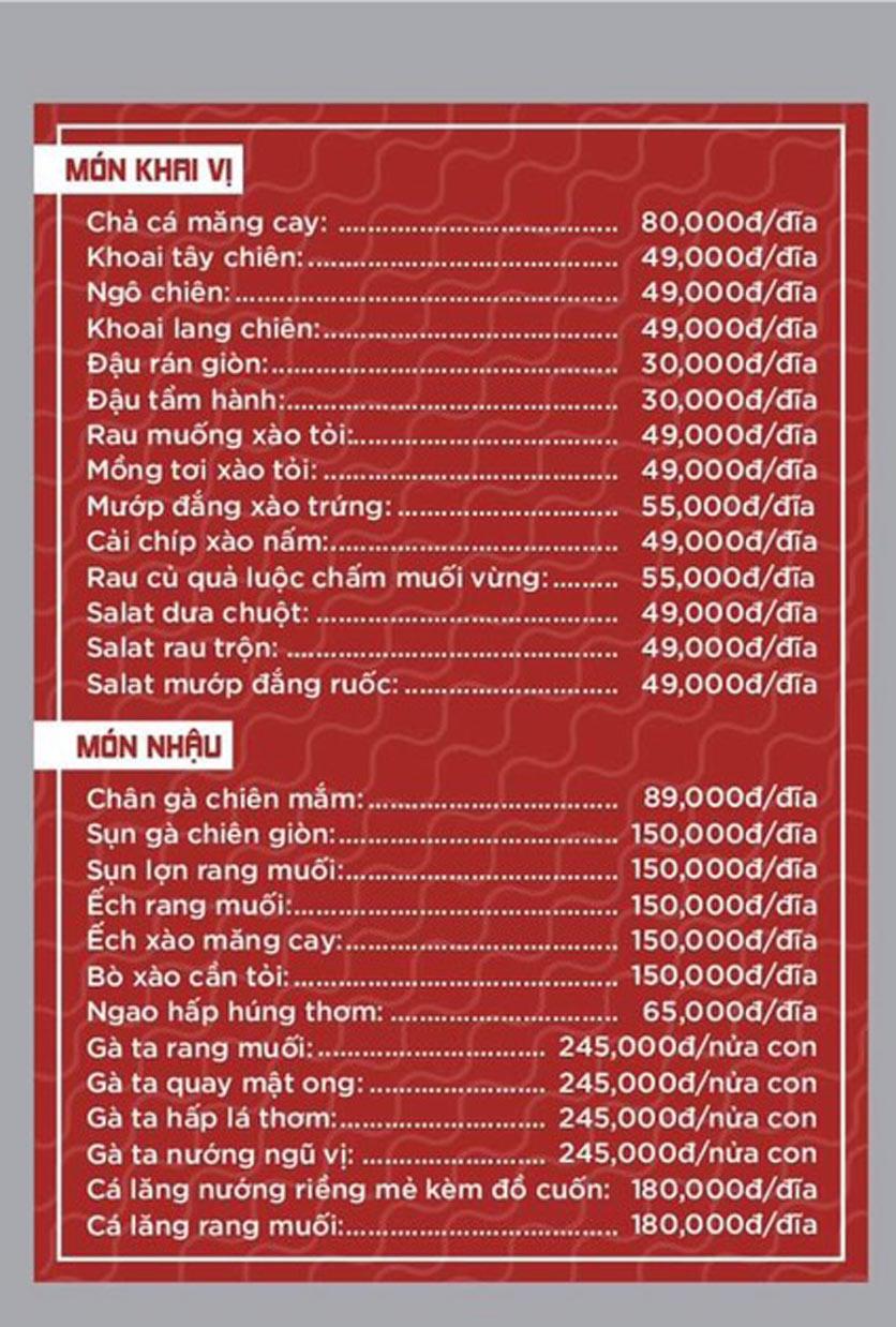 Menu Giang Sơn Quán - Hoàng Cầu 2