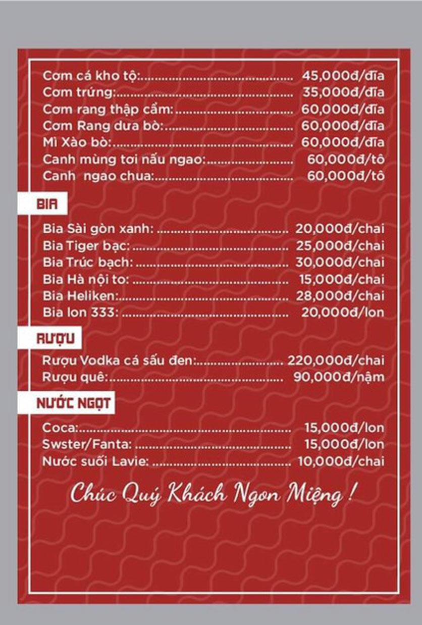 Menu Giang Sơn Quán - Hoàng Cầu 5