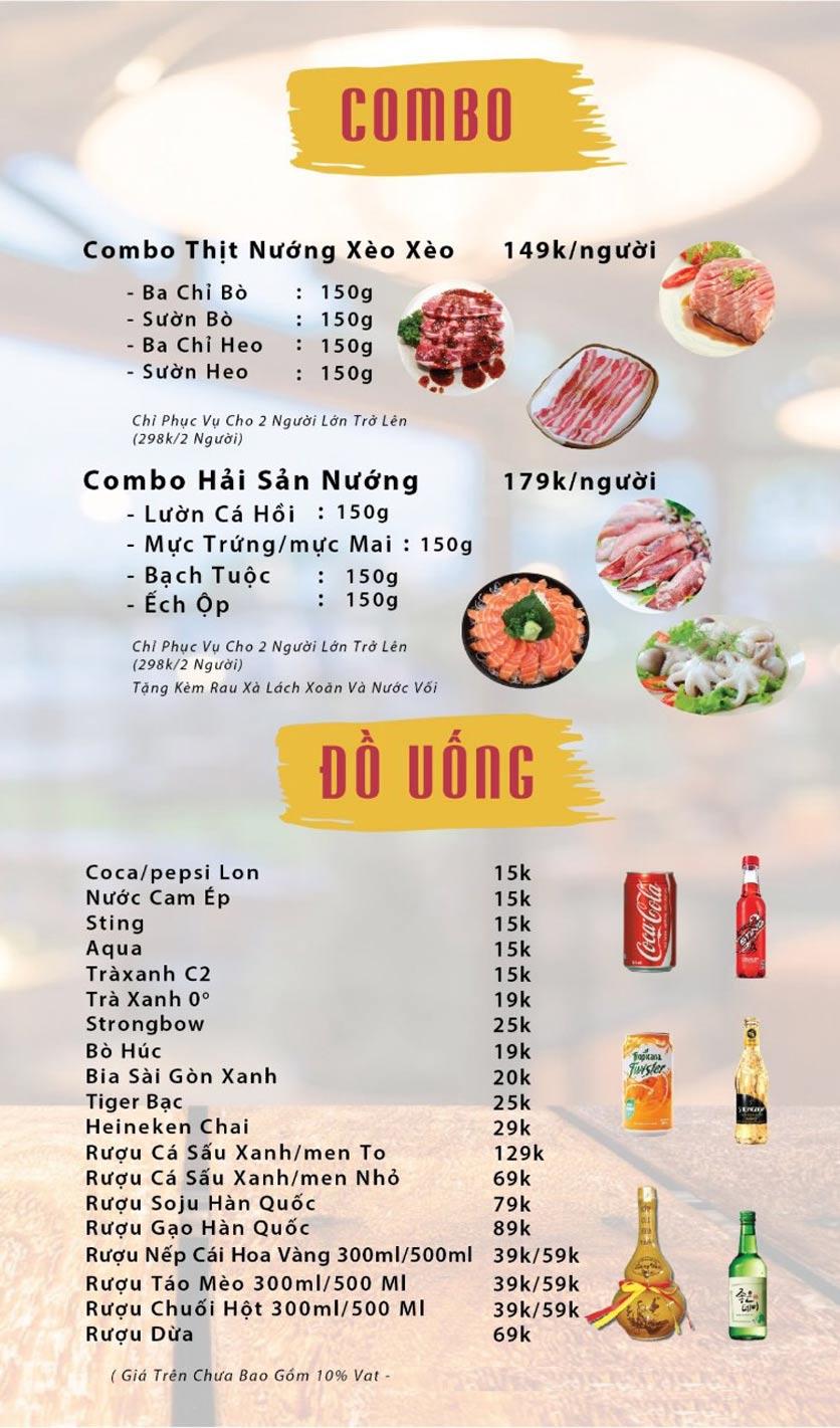 Menu GOPchain – Quán thịt nướng & lẩu Hàn Quốc – Nguyễn Khuyến 5