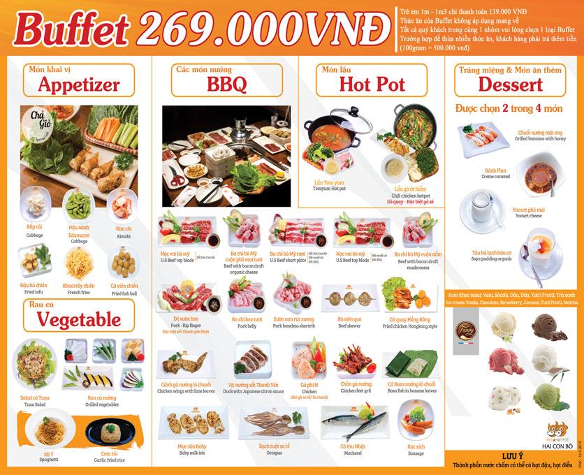 Menu Hai Con Bò BBQ & Hotpot – Cống Quỳnh 1