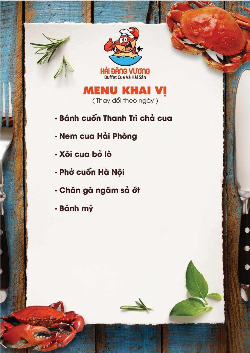 Menu Hải Đăng Vương  - Buffet Cua & Hải Sản- Vincom Nguyễn Chí Thanh 1