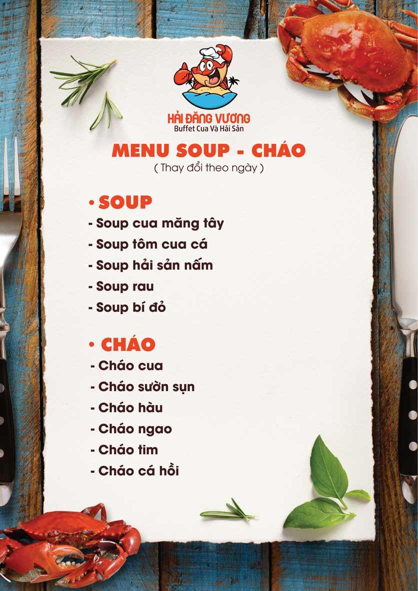Menu Hải Đăng Vương  - Buffet Cua & Hải Sản- Vincom Nguyễn Chí Thanh 2