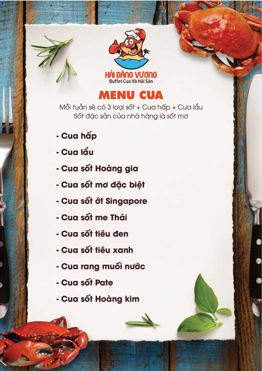 Menu Hải Đăng Vương  - Buffet Cua & Hải Sản- Vincom Nguyễn Chí Thanh 6
