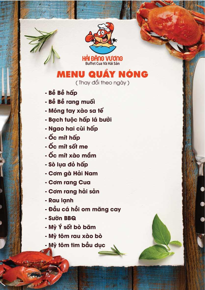 Menu Hải Đăng Vương  - Buffet Cua & Hải Sản- Vincom Nguyễn Chí Thanh 8