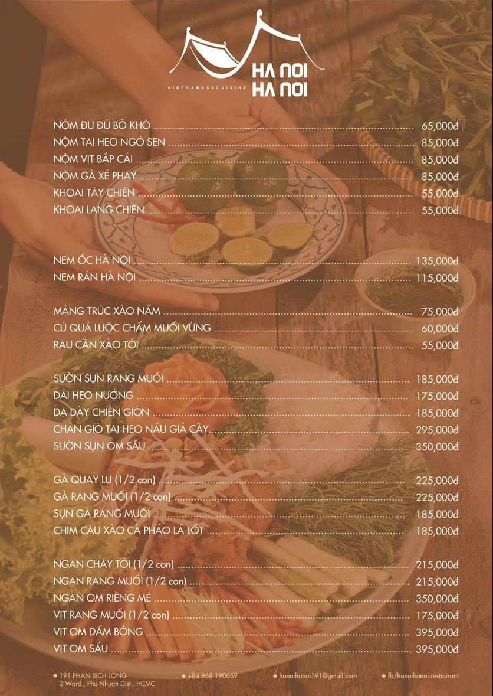 Menu Hanoi Hanoi Restaurant - Phan Xích Long 1