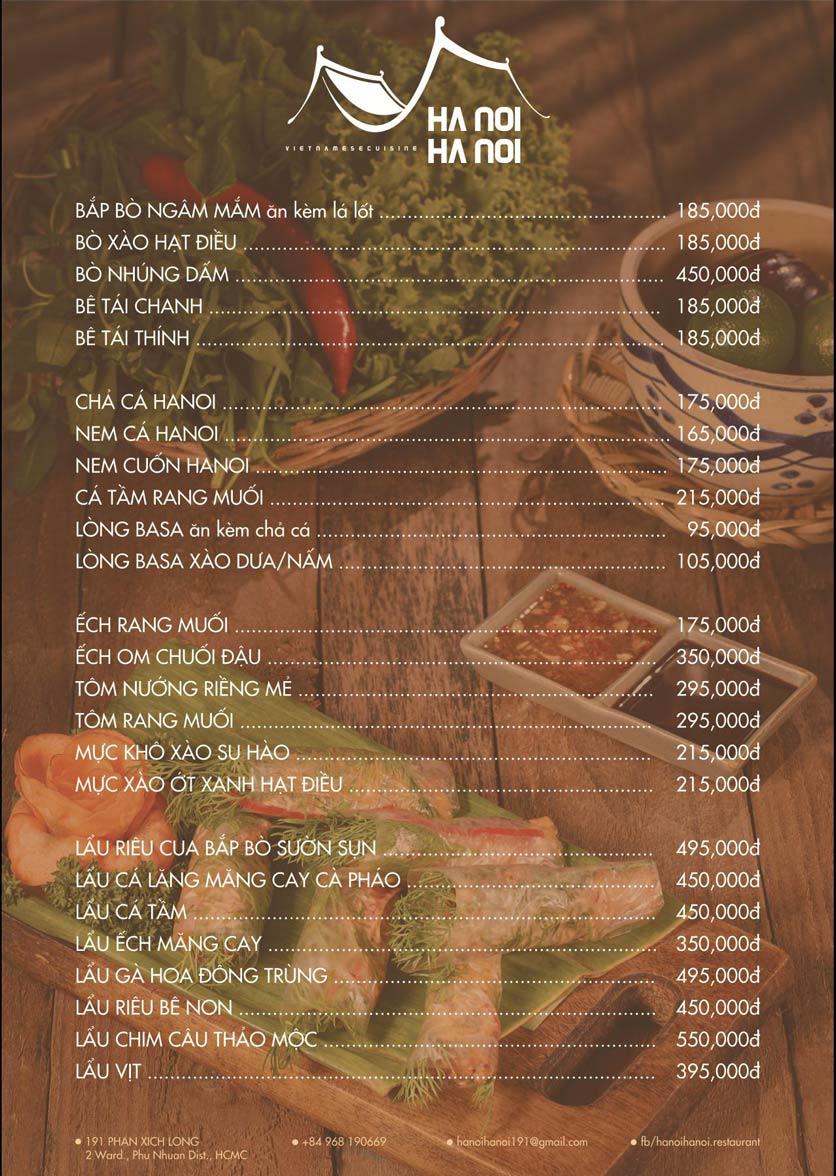 Menu Hanoi Hanoi Restaurant - Phan Xích Long 2