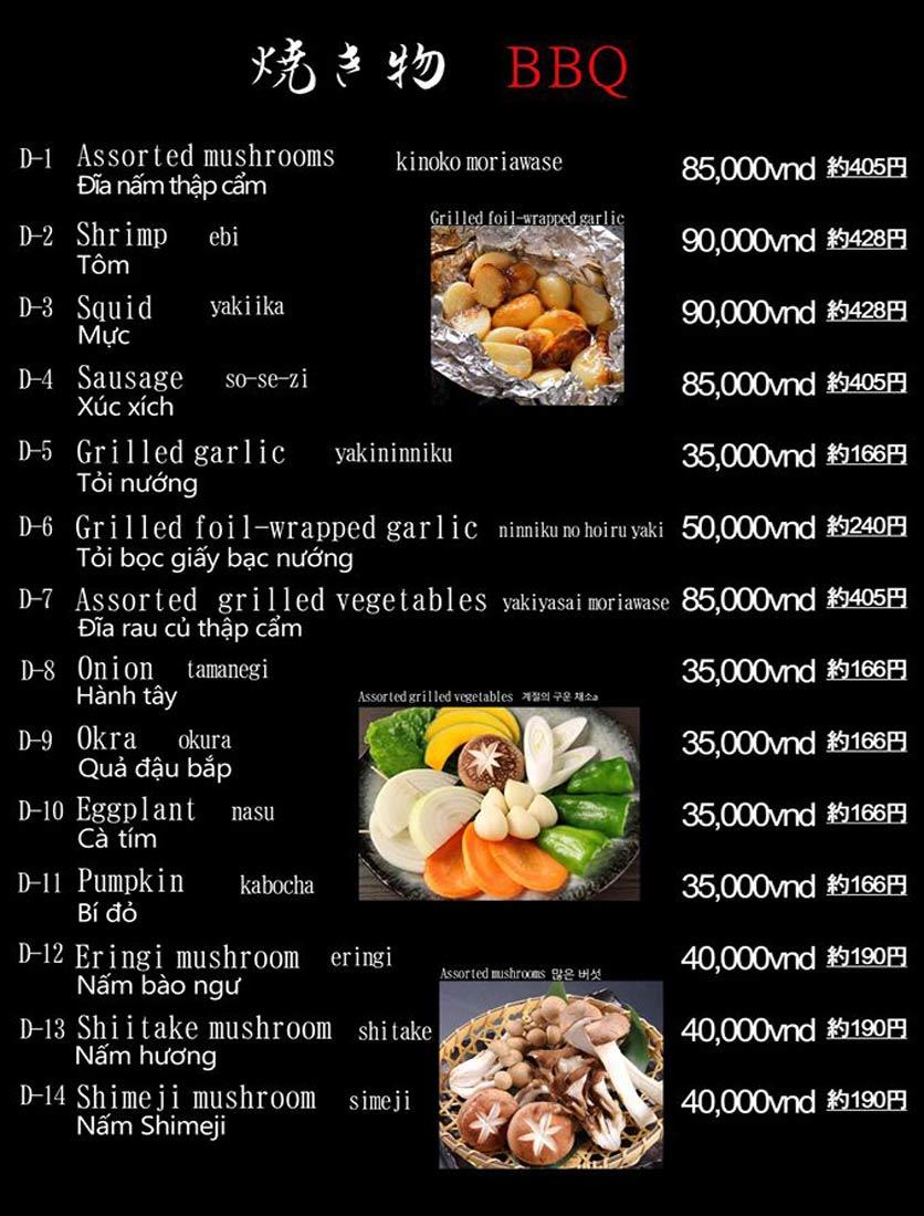 Menu Hibiki BBQ - Nguyễn Hữu Cảnh 6