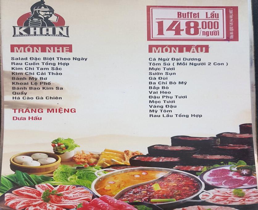 Menu Khan Buffet - Khâm Thiên 1