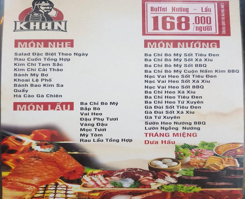 Menu Khan Buffet - Khâm Thiên 2