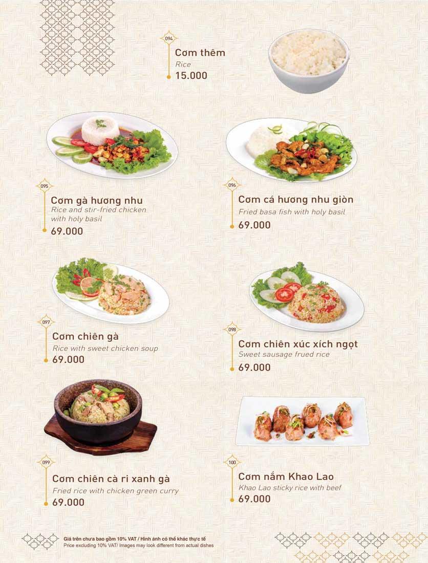 Menu Khao Lao - Duy Tân 26