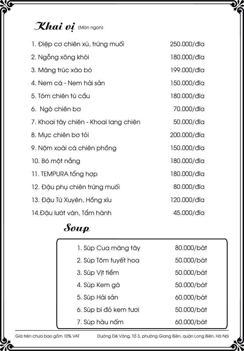 Menu Kim Long Garden - Đường Đê Vàng  1