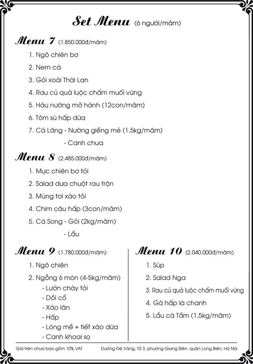 Menu Kim Long Garden - Đường Đê Vàng  12