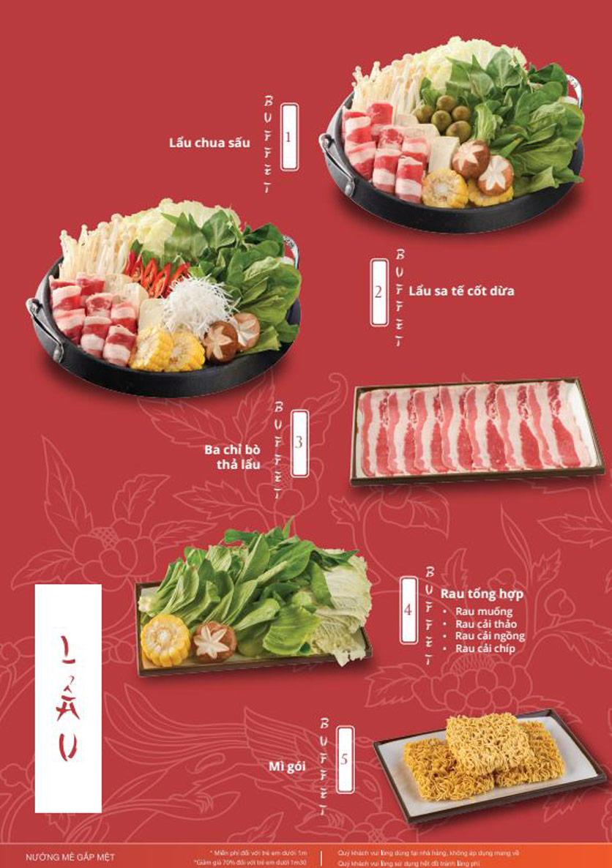 Menu Làu - Buffet Lẩu Nướng - Nguyên Hồng 12