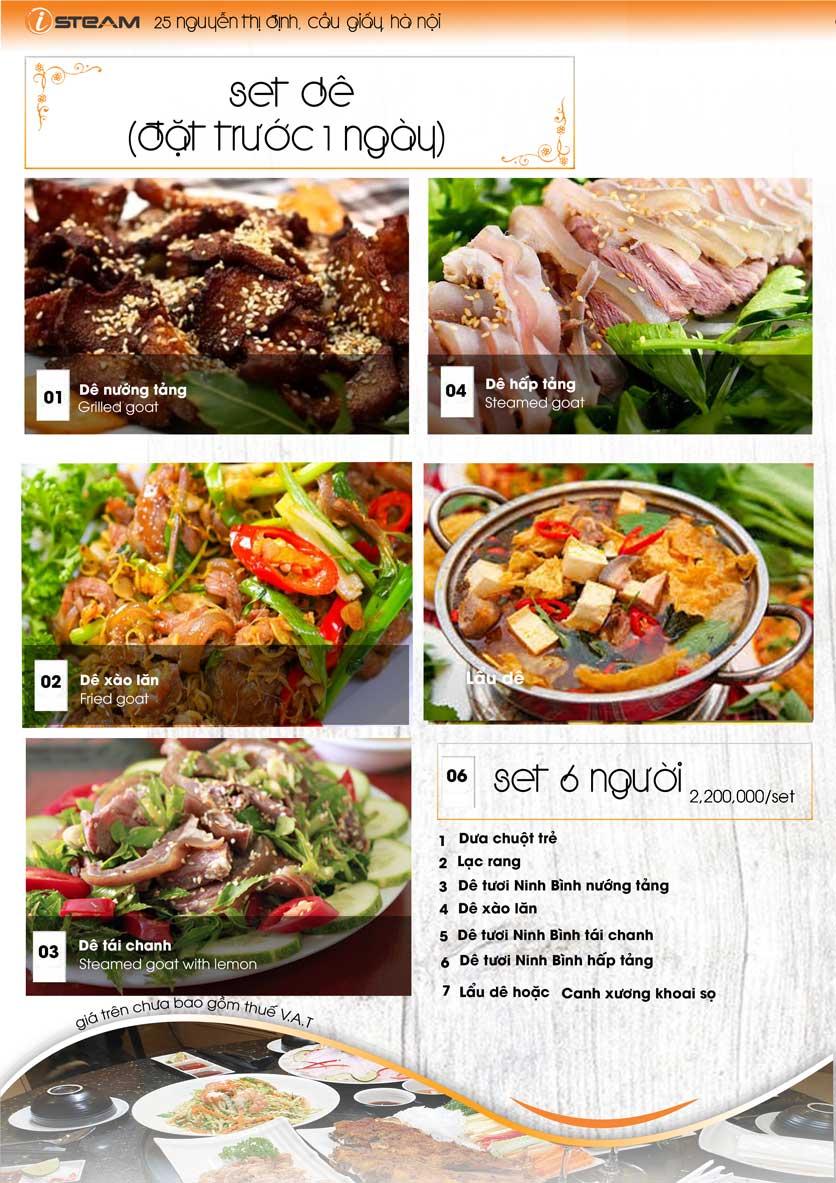 Menu iSteam - Nguyễn Thị Định 5