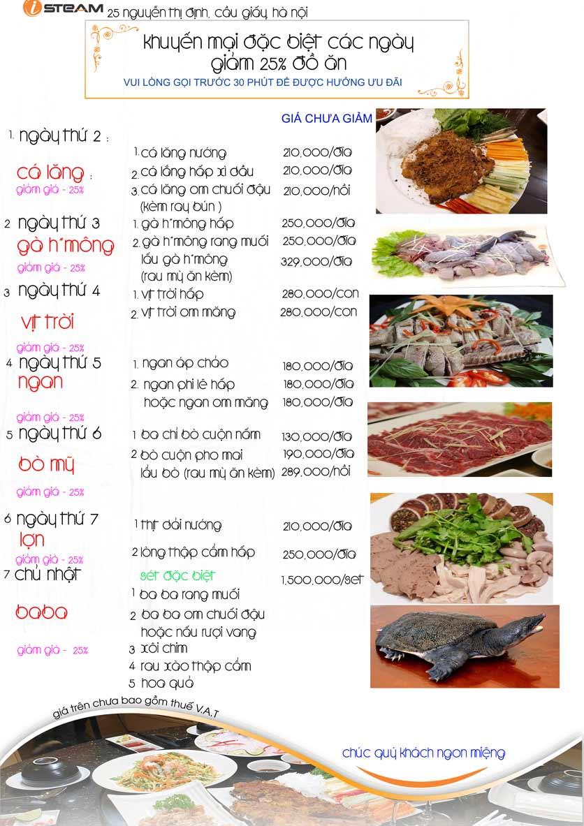 Menu iSteam - Nguyễn Thị Định 1
