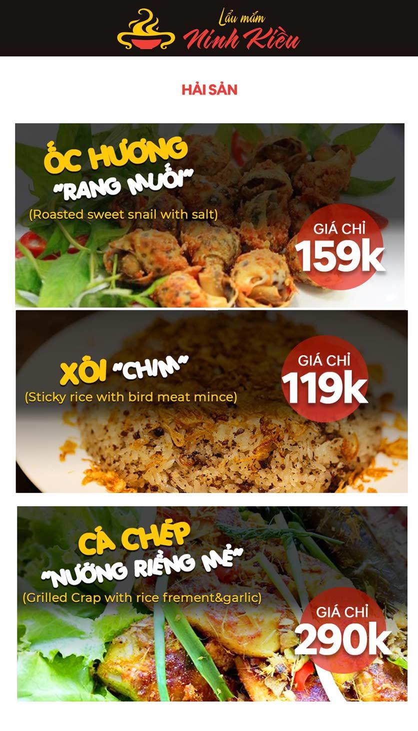 Menu Lẩu Mắm Ninh Kiều - Hàng Bún 1