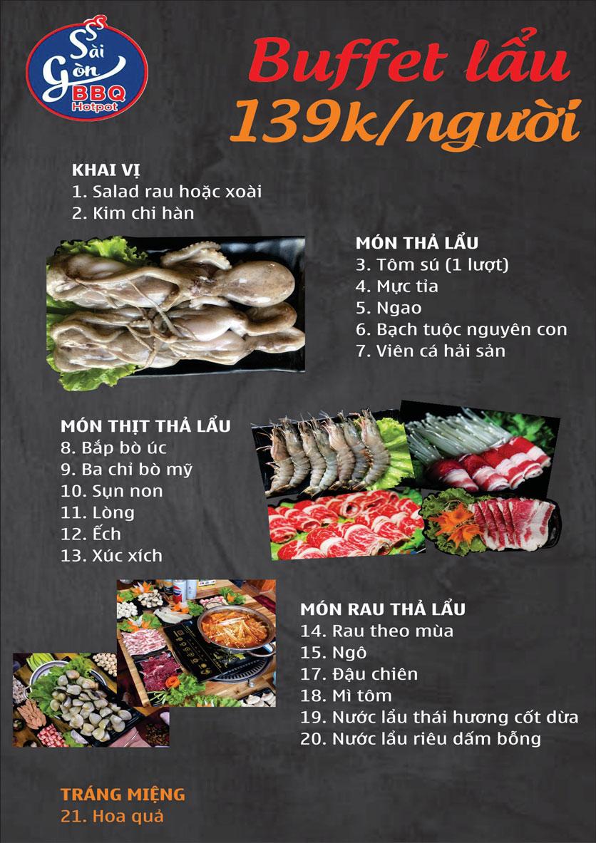 Menu Lẩu Nướng Không Khói Sài Gòn – 258 Thượng Đình  3