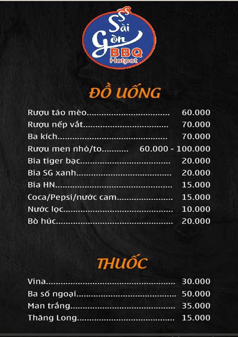 Menu Lẩu Nướng Không Khói Sài Gòn – 258 Thượng Đình  6