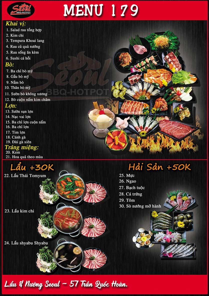 Menu Lẩu Nướng Seoul BBQ - Trần Quốc Hoàn 2
