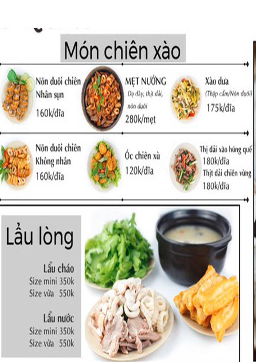 """Menu Lòng """"Chát"""" Quán - Trần Thái Tông 3"""