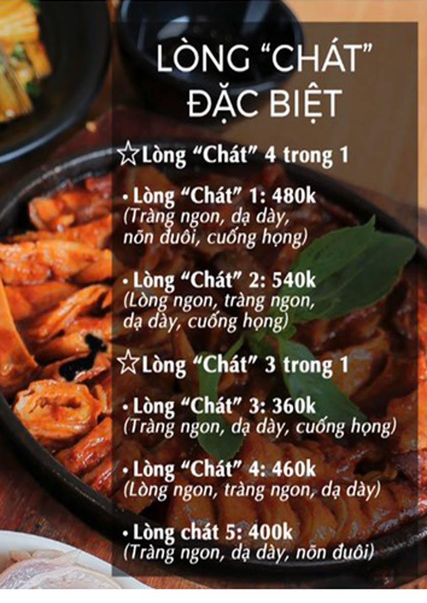 """Menu Lòng """"Chát"""" Quán - Trần Thái Tông 5"""