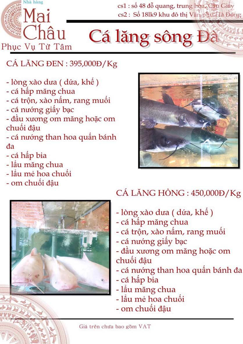 Menu Mai Châu – KĐT Văn Phú 1