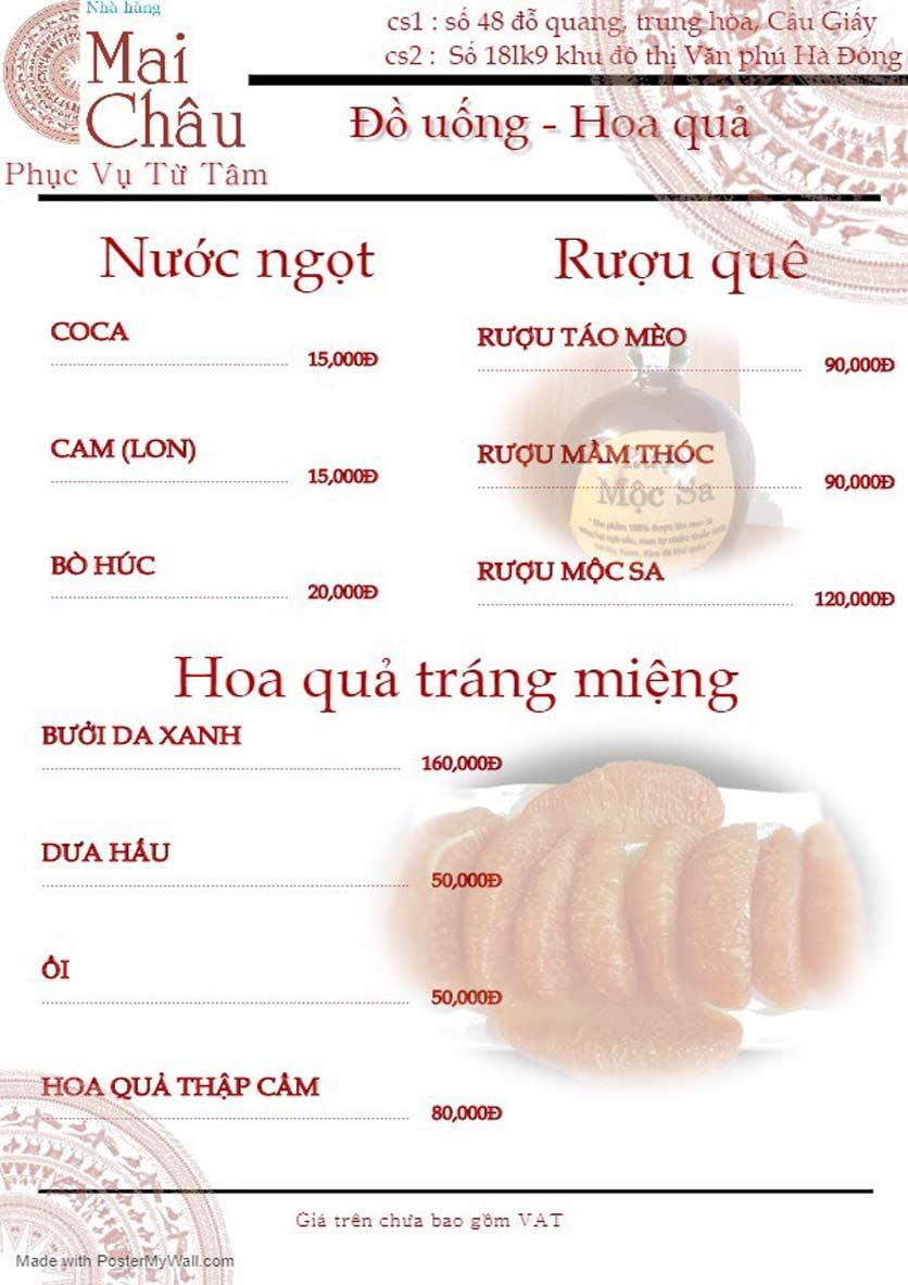 Menu Mai Châu – KĐT Văn Phú 11