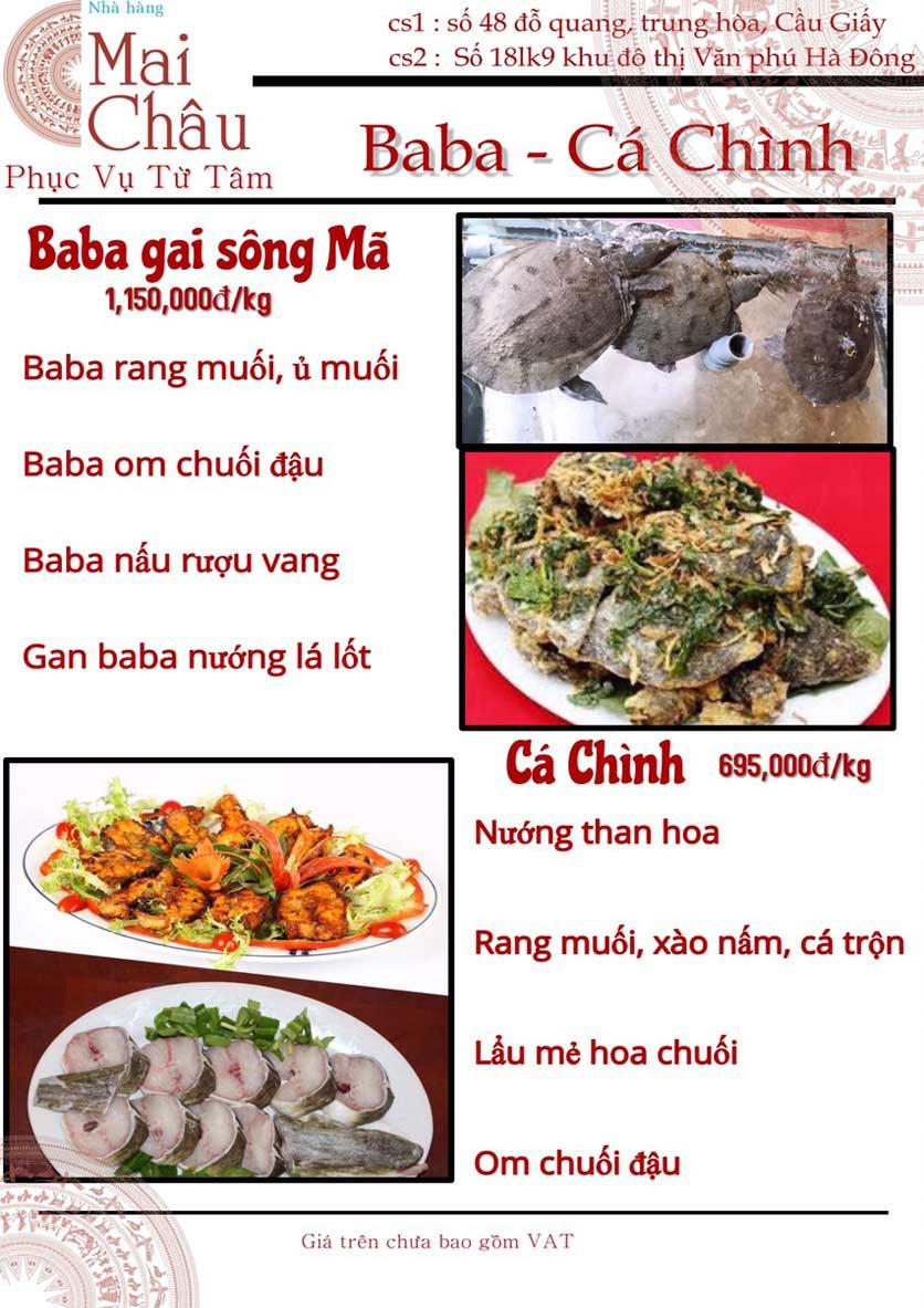 Menu Mai Châu – KĐT Văn Phú 5