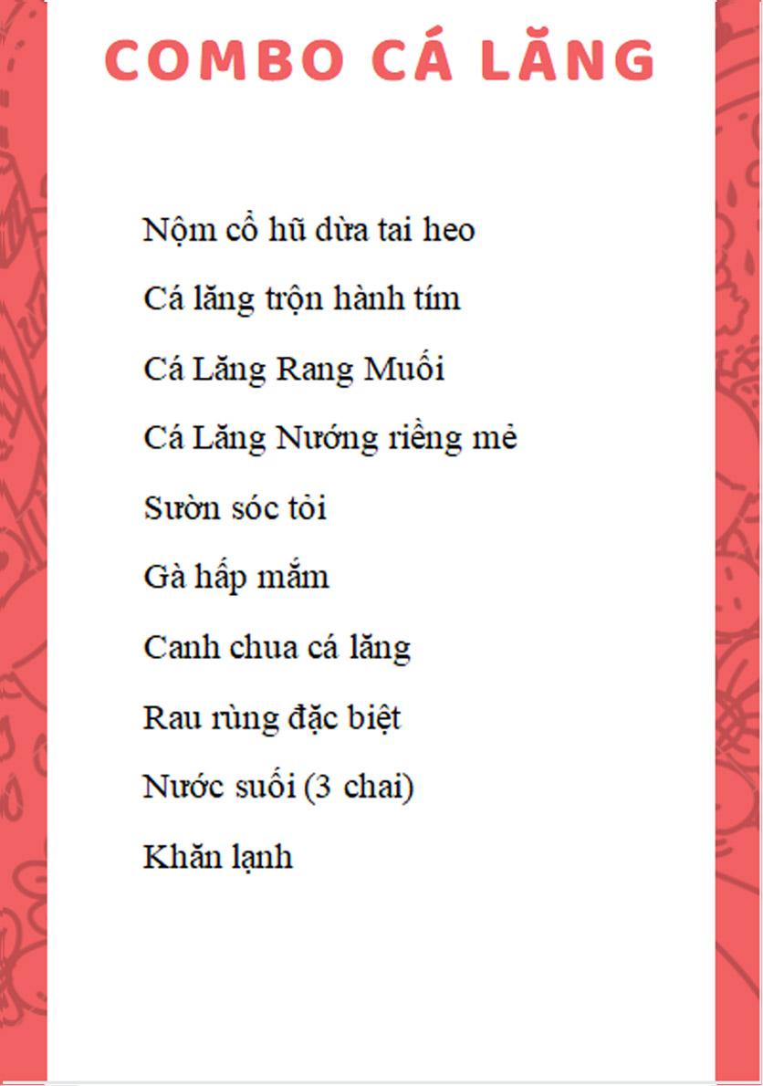 Menu Cá Lăng Việt Trì ĐHM - Phạm Hùng 1