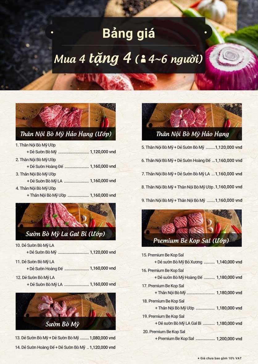 Menu Meat Plus - Trung Yên 2
