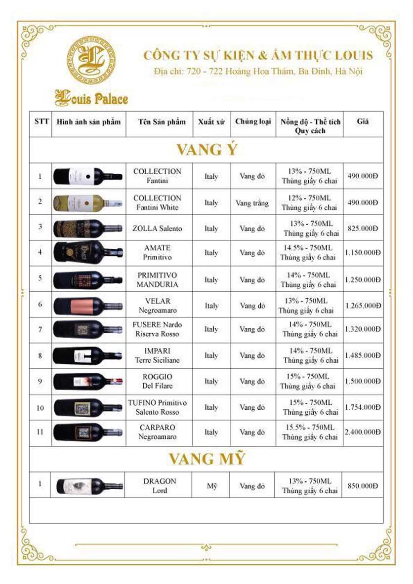 Menu Hầm Rượu Vang Louis - Hoàng Hoa Thám 12