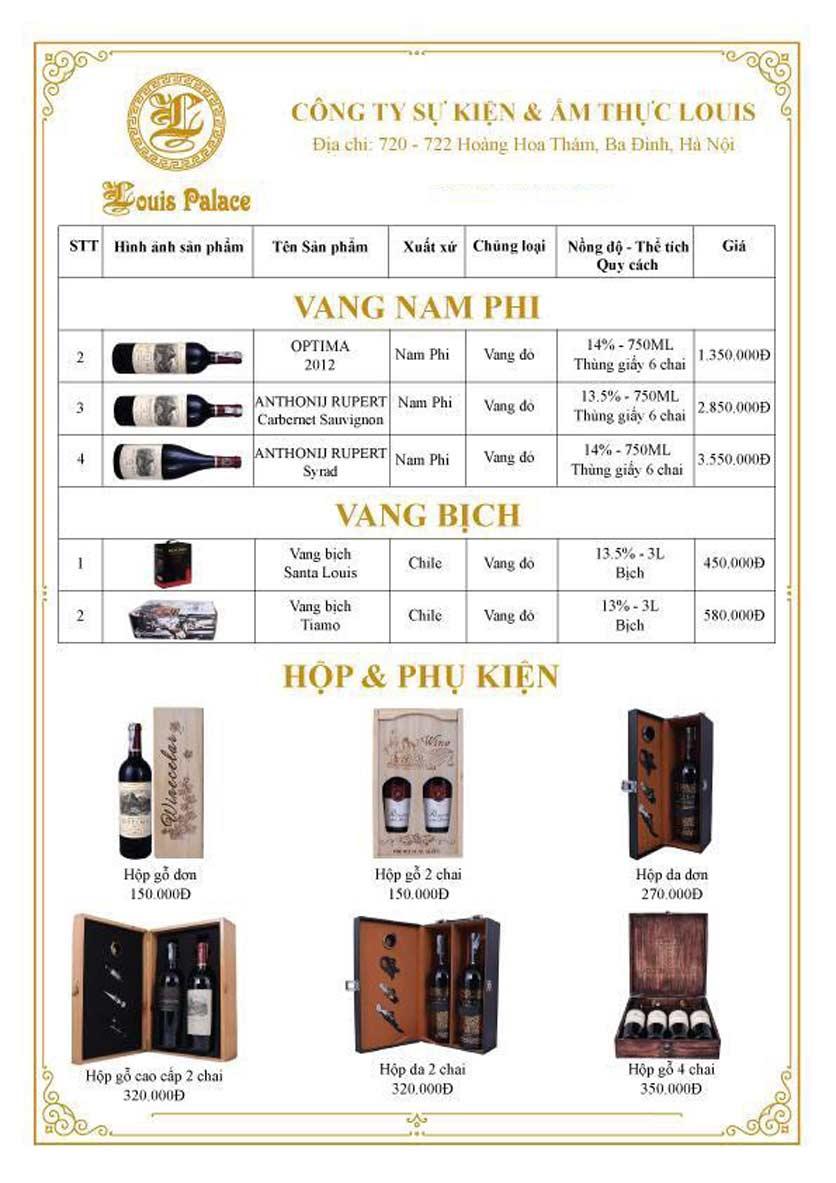 Menu Hầm Rượu Vang Louis - Hoàng Hoa Thám 13