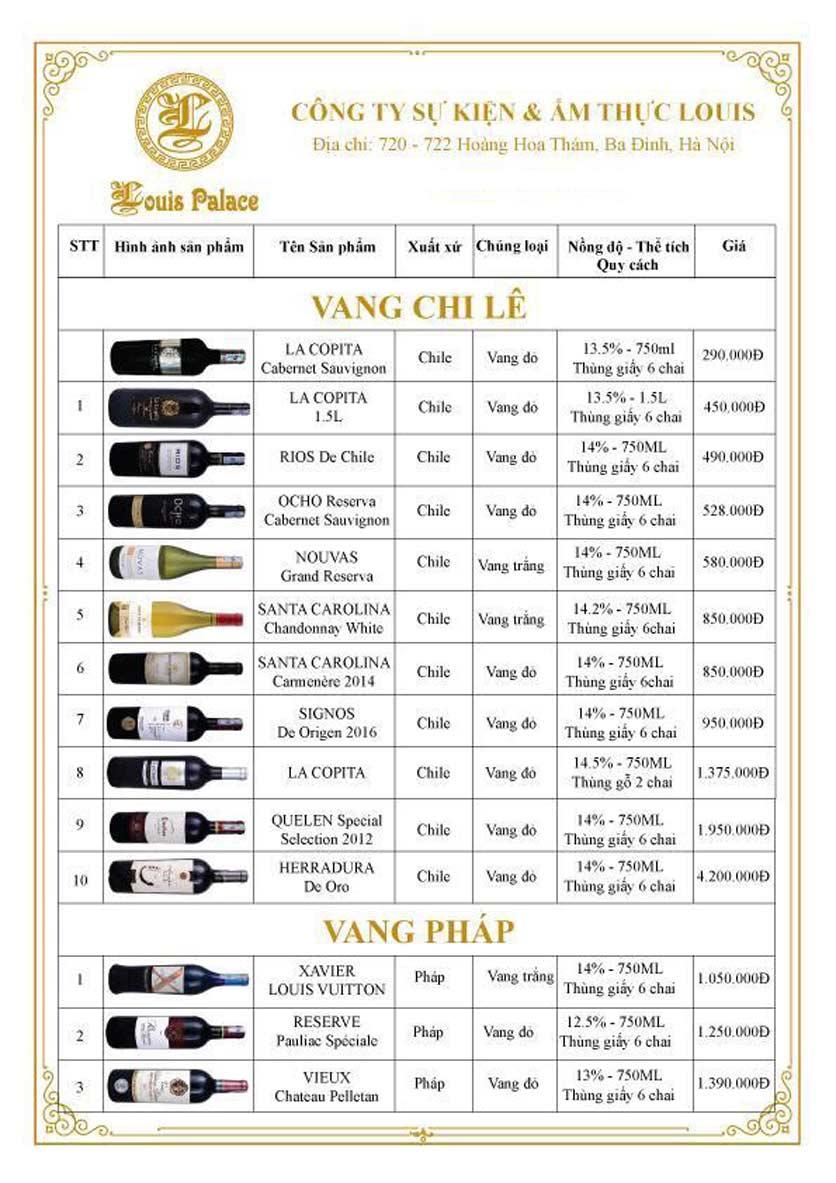 Menu Hầm Rượu Vang Louis - Hoàng Hoa Thám 14