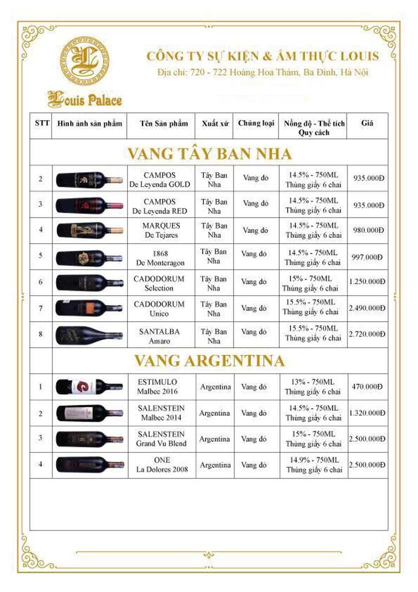 Menu Hầm Rượu Vang Louis - Hoàng Hoa Thám 15