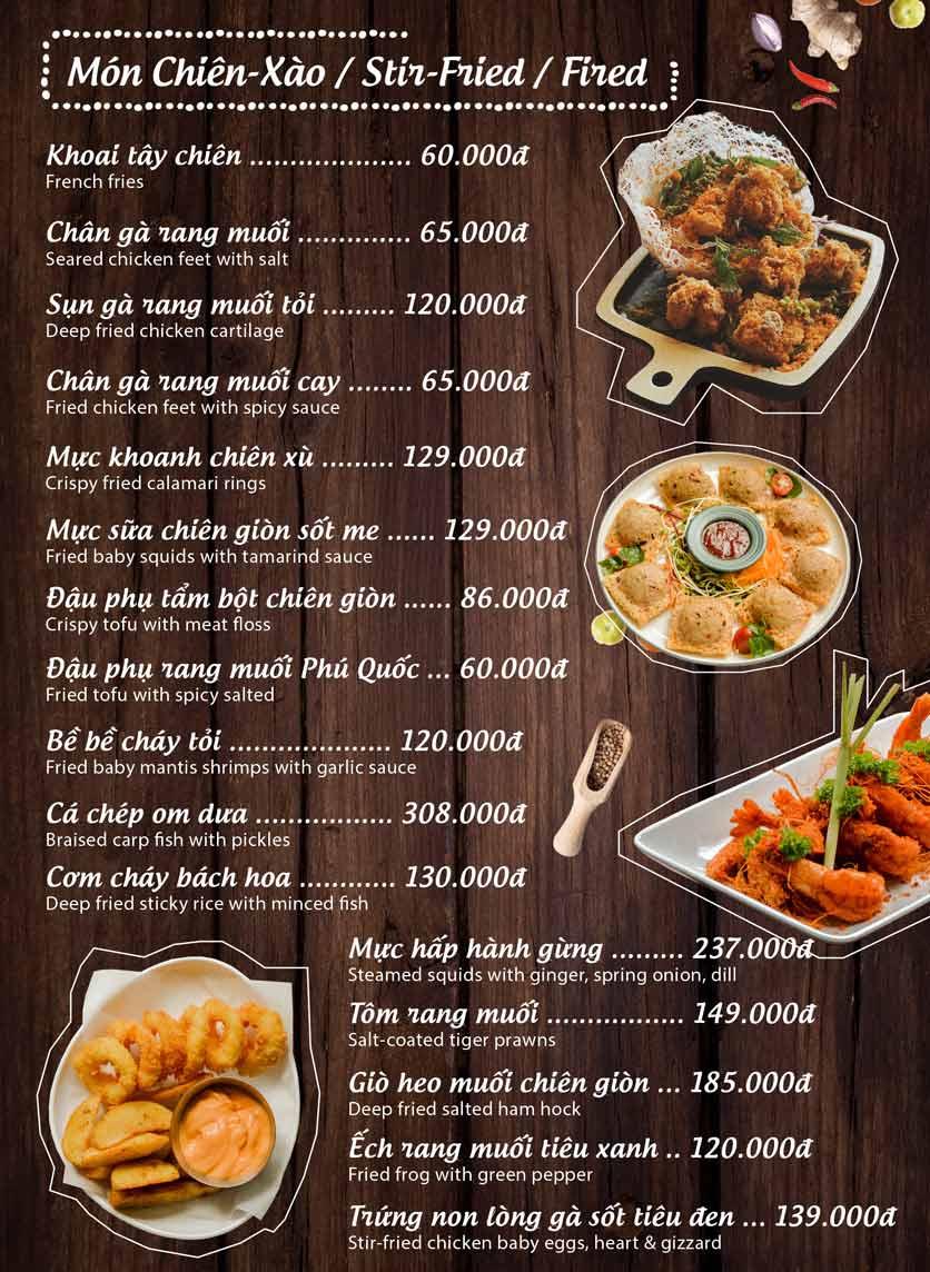 Menu Mộc – Riêu & Nướng – Lam Sơn 10