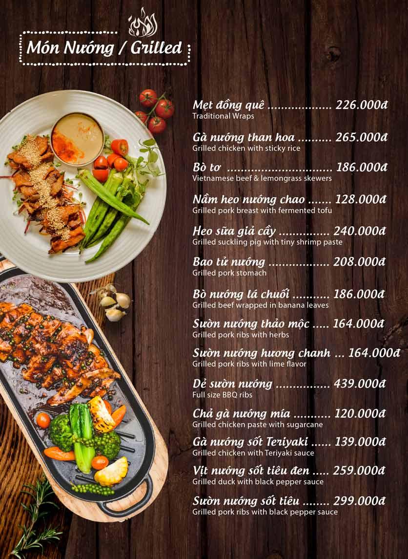 Menu Mộc – Riêu & Nướng – Lam Sơn 5