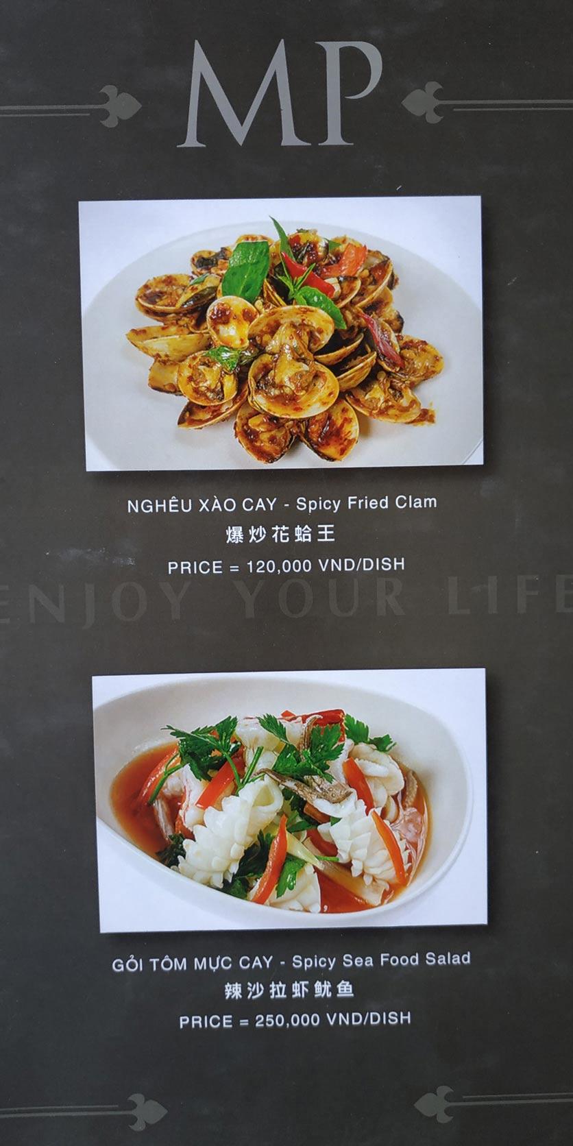 Menu MP Thai Seafood Restaurant - Phạm Văn Đồng 1