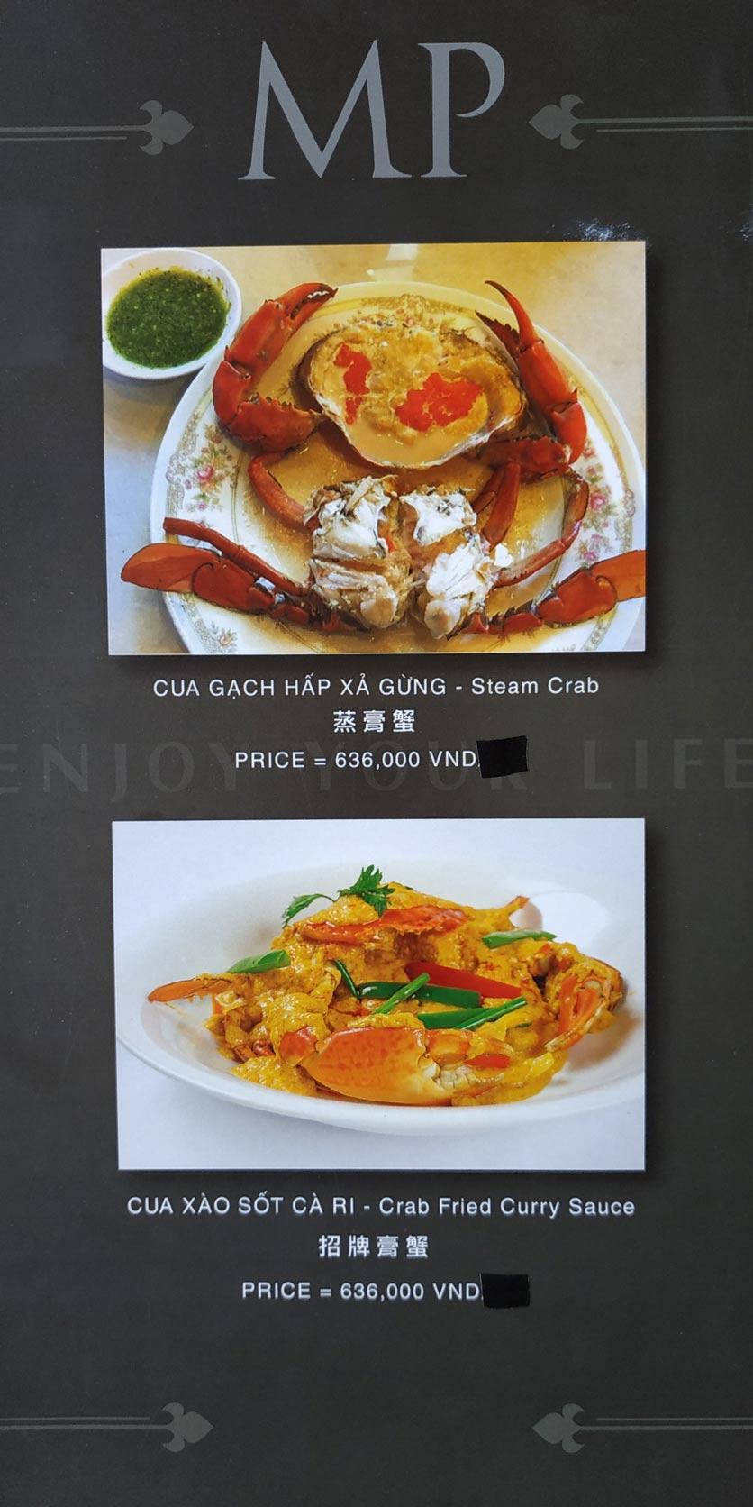 Menu MP Thai Seafood Restaurant - Phạm Văn Đồng 10