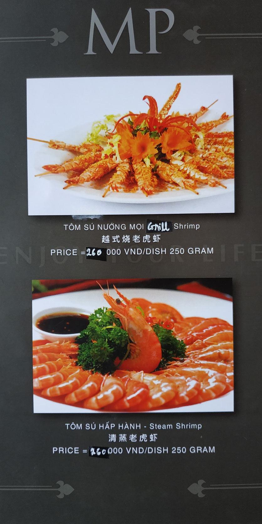 Menu MP Thai Seafood Restaurant - Phạm Văn Đồng 12