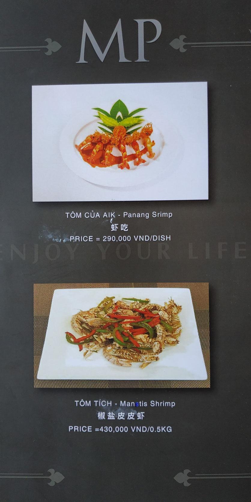 Menu MP Thai Seafood Restaurant - Phạm Văn Đồng 13