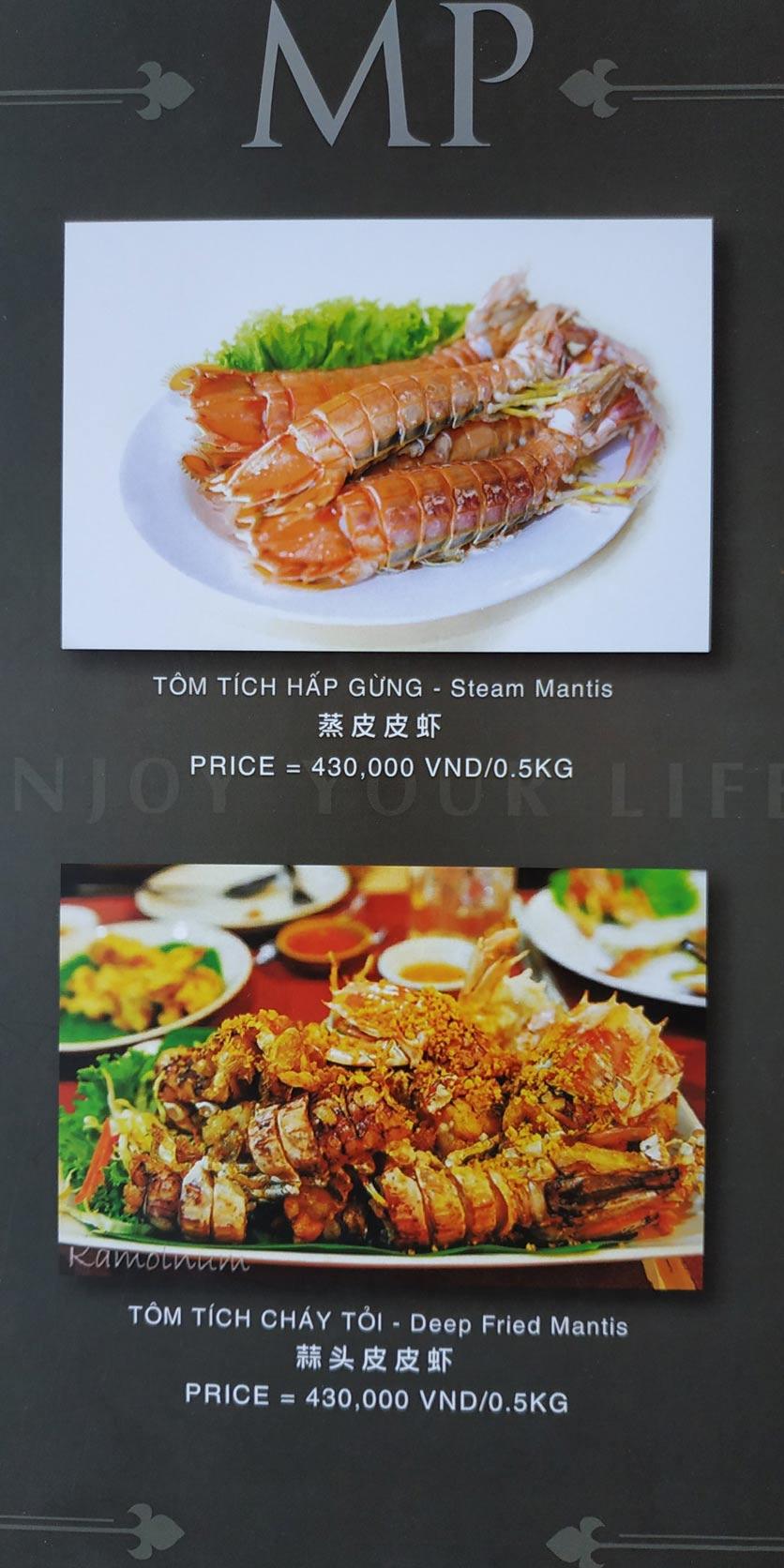 Menu MP Thai Seafood Restaurant - Phạm Văn Đồng 9