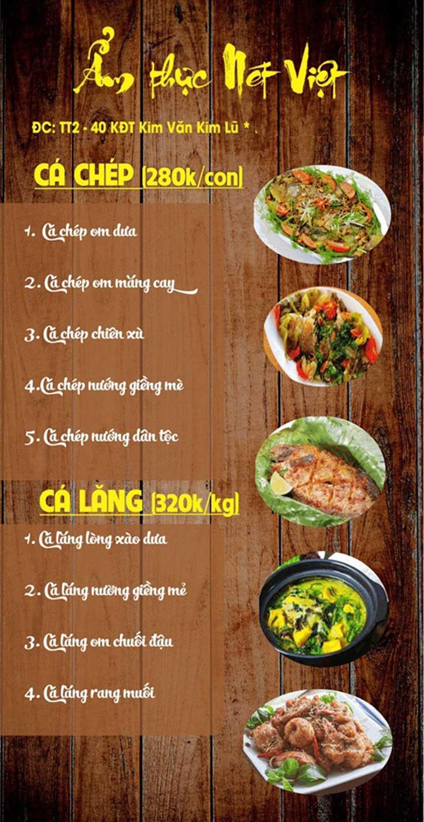Menu Nét Việt - KĐT Kim Văn Kim Lũ  8